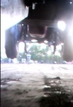 picture from underneath camera on a pulling tractor